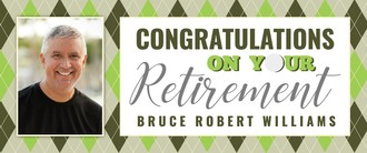 Green Golf Plaid Retirement Banner