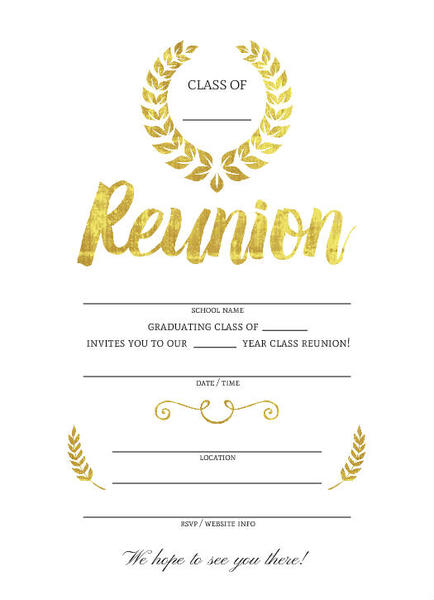 Beautiful Faux Gold Foil Fill in the Blank Class Reunion