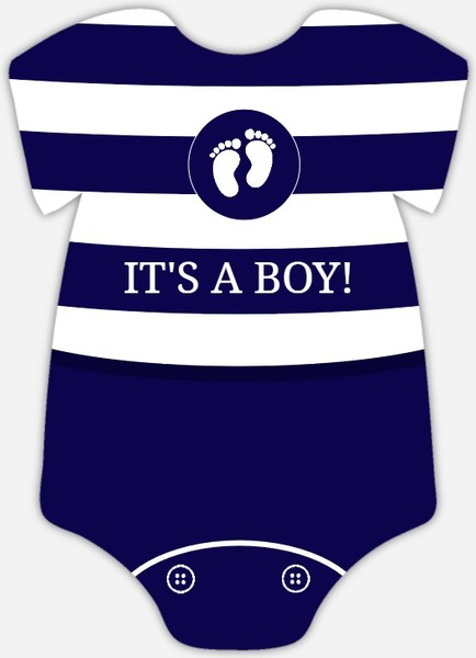 Navy and White Stripes  Boy Baby Shower Invite