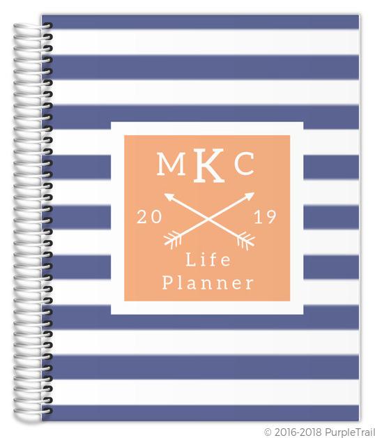 Modern stripes monogram custom life planner daily for Custom photo planner