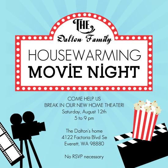 Movie Night Housewarming Party Invitation