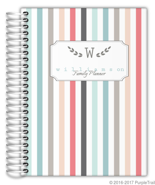 Colorful pinstripe custom family planner for Custom photo planner