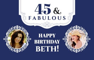 Forty and Fabulous Teal Birthday Banner