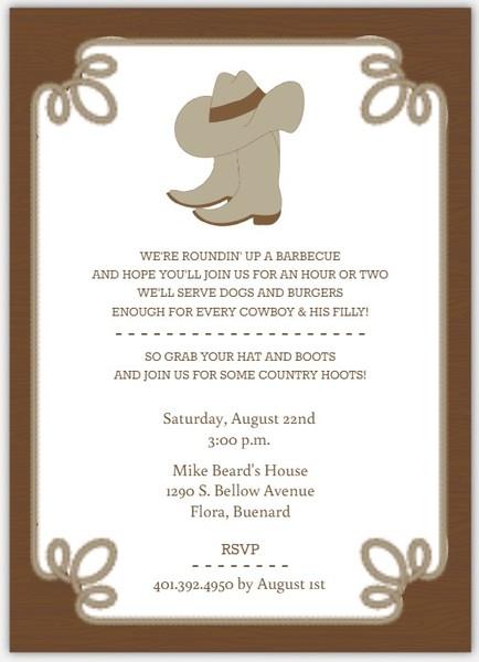 Cowboy party invitation ideas - Cowboy Boot Invitation Template Bbq Invitations Bbq Invite Amp Bbq